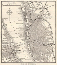 Map of Liverpool centre,  antique engraving 1880s ready mounted SUPERB
