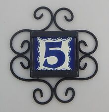 1 BLUE Mexican Ceramic Number Tiles & Horizontal Iron Frame