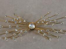 Wonderful Star Rays Burst Diamante Studded Large Gold Tone Broach Pin -Fabulous!