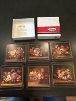 Vintage Set of 6 PIMPERNEL  Coasters NIB flower Arrangements Bouquets C90