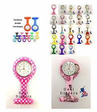 Silicone Nurse Watch Brooch Tunic Fob Watch With Free Battery Doctor Medical UK