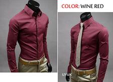 Herren Langarm Slim Fit Shirt Business Shirt Hemd Freizeit Hochzeit 17 Farben IL