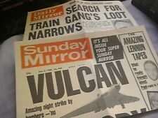 Rare new vulcan faulklands war and great train robbery newspaper front pages