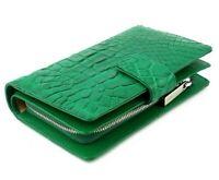 Women Genuine Crocodile Alligator Belly Skin Leather Clutch Wallet Purse Bifold