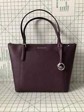 Michael Kors Ciara Large EW Shoulder tote Zip Top Saffiano Leather Bag in Damson
