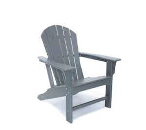 Hampton Gray Poly Outdoor Patio Plastic Adirondack Chair by Luxeo