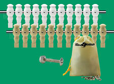 """11 White/11 Tan Robotic Style Foosball Men for a 5/8"""" Rod + 22 Screws/Nuts"""
