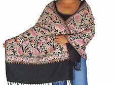 "Black Paisley Kashmir Embroidery Elegant Wool Shawl Dress Wrap Warm Scarf 80"""