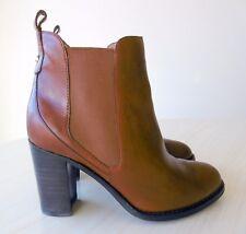 Bottines Low Boots à Talon Cuir Marron Chaussures Femme 35 LUCIANO BARACHINI