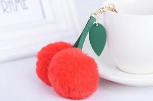 Lux Accessories Women's Bag Charm Pom Pom Googly Cherry Keychain Key Ring
