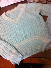 Ladies Blue Inc Chunky Cable V Shape Jumper S/m