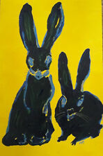 ORIGINAL ART * ABSTRACT BLUE BUNNY RABBITS * Acrylic  on Board