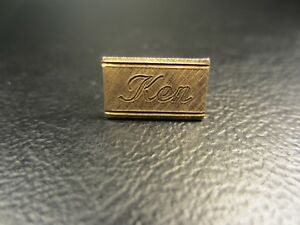"""Vintage Brushed Finish """"Ken"""" Yellow Gold Plated Tie Tac or Lapel Pin"""