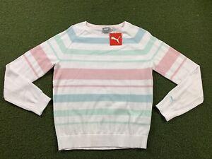 Puma Women's Crewneck Stripe Ribbon Sweater Pink Aqua White SZ S ( 599268 05 )