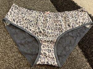 Victoria's Secret Low Rise Hipster Gray Leopard Lace Panties Size L NWT