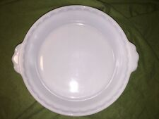 "Vintage PYREX White Milk Glass Scalloped Edge PIE PAN Plate- 8.5"" Deep Dish #228"