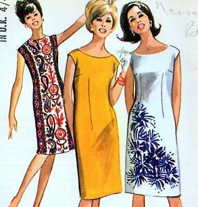 "EASY Vintage 60s Mod SHIFT DRESS Sewing Pattern FF UNCUT Bust 32"" 33"" 34"" RETRO"