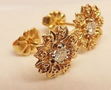 NEW ~ 14K YELLOW GOLD 1/4 cttw DIAMOND FLOWER STUD PIERCED EARRINGS NWOT