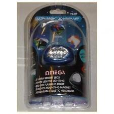 Omega 25009 5  Ultrabright Flashlight LED Head Torch Elastic Strap White Red New