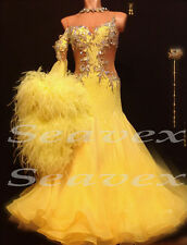 Bd2878 Ostrich Feather Ballroom Yellow Waltz Tango Prom UK10 US 8 Dance Dress