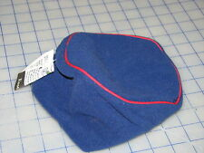 USA micro navy blue red trim fleece polyester adult winter cold hat beanie