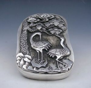 Tibetan Silver Crafted Large Heavy Ink Slab w/ Cover *Cranes Pine Trees* Overlay