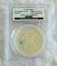 2009 conto alla rovescia per le Olimpiadi Nuoto £ 5 ARGENTO PROOF CORONA slabbed CGS 97