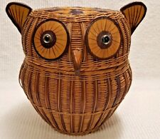 "Vintage Owl Basket Made In The People's Republic Of China 7"" Tall with sticker"