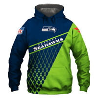 Seattle Seahawks Hoodie Hooded Pullover COAT S-5XL Football Team Fans Gift