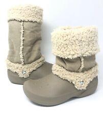 Crocs Nadia Fleece Lined Winter Boots Womens Size 8 Khaki