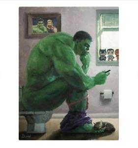 Incredible Hulk Marvel Bathroom Print Poster, Wall Hanging Poster, Matte Poster