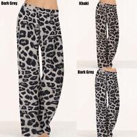 Women Plus Size Leopard Print Elastic Waist Palazzo Pants Flare Wide Leg Trouser