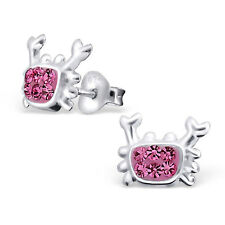 Childrens Kids Girls 925 Sterling Silver Crab Ear Studs with Crystal-Gift Box