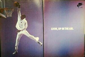 1987 Nike Michel Jordan Look Up in Air Sneakers Poster Vintage Photo Print Ad