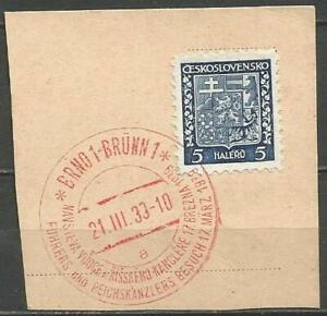 Germany (Third Reich) 1939 Czechoslovakia Hitler Visit to Brno Special Cancel