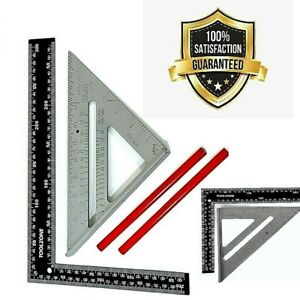 """7"""" roofer square + ROOFING RAFTER SET SQUARE 300mm x150mm + 2 Carpenter pencil"""