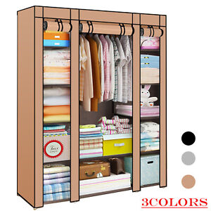 LARGE FABRIC CANVAS WARDROBE WITH HANGING SHELVING CLOTHES STORAGE CUPBOARD PRO