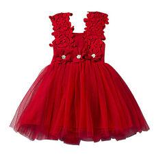 Bebe Niña Princesa Fiesta Boda Flor Vestido De Cumpleaños Moño Edad 2-6 Años