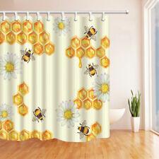 Bee and honey nest Shower Curtain bath decor waterproof Fabric &12 hooks 71x71in