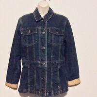 Eddie Bauer Denim Jean Jacket Blue M Cotton Stretch Long Sleeve