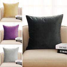 "Velvet Cushion Covers Large Plain Velour Heavy Crushed Square Zip Closure 17x17"""