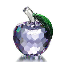 3D Lilac Apple Crystal Fruit Figurine Glass Paperweight Home Decoration 60mm