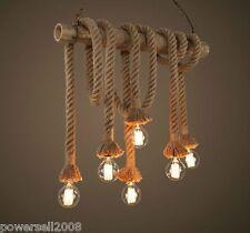 Retro Hand Knitted Hemp Rope Lamp 6 Lights Home Decoration Pendant Lights