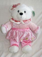 "2010 WalMART CHRISTMAS Snowflake TEDDY BEAR White Girl 20"" Pink Dress Plush NEW"