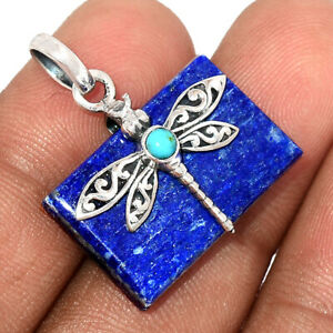 Dragonfly - Lapis - Afghanistan 925 Sterling Silver Pendant Jewelry BP99187