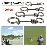 100Pcs Durable Fishing Swivels Fishing Line Snaps Hooks Connector Tackle Tool AM