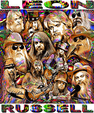 """LEON RUSSELL"" TRIBUTE -12 X 14"" POSTER PRINT BY ED SEEMAN"