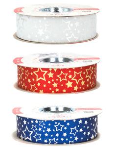 50m Geschenkband 31mm Sterne Ringelband Polyband Dekoband Weihnachtsband Motiv