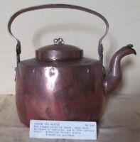 EXCELLENT 1800 LARGE COPPER ANTIQUE TEA POT WITH COVERED SPOUT - ANTIQUE KETTLE