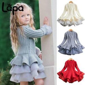 Lapa Kids Toddler Girls Sweater Dress Knitted Winter Princess Party Tutu Dresses